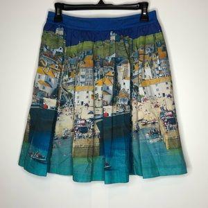 Boden Florence beach scene a-line pleated skirt
